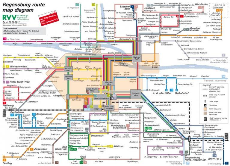 regensburg route map diagram regensburger verkehrsverbund. Black Bedroom Furniture Sets. Home Design Ideas