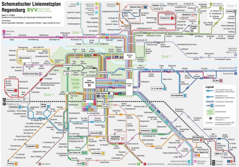 Grossansicht in neuem Fenster: Schematischer Liniennetzplan Regensburg 2017