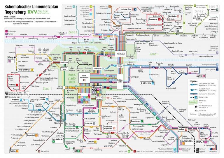 Schematischer Liniennetzplan Regensburg 2018