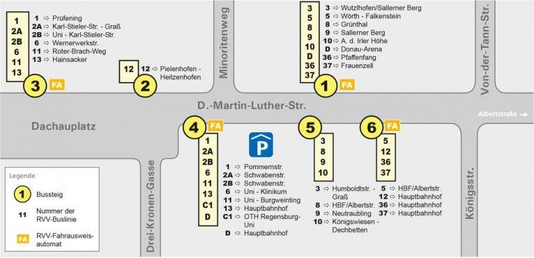 Haltestellenübersichtsplan Dachauplatz