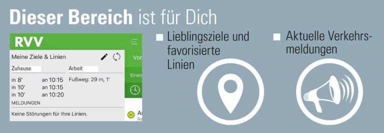 Im Menü der App lassen sich zwei Lieblingsziele festlegen. Nutzer erhalten Verkehrsmeldungen zu favorisierten RVV-Linien.
