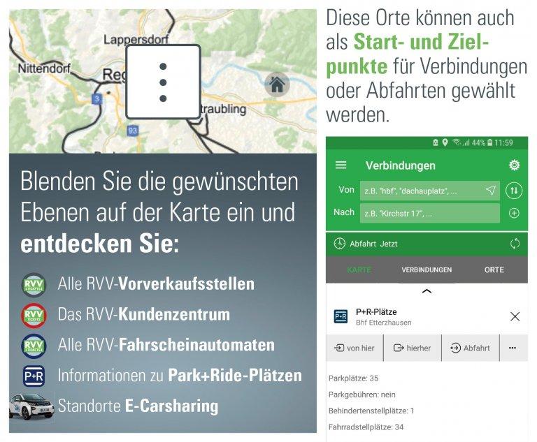 RVV-App: P+R-Plätze, Vorverkaufsstellen und E-Carsharing auf der Karte entdecken