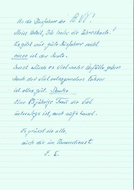 Lieblingsbusfahrer 2018 Brief langjährige Kundin