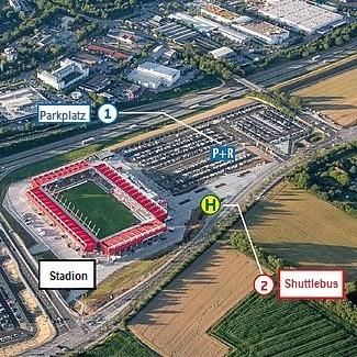 Karte: Halt der Linie F an der Continental Arena