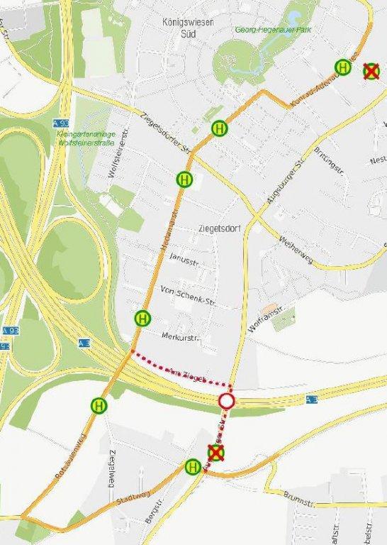 200108_Karte Umleitung Linien 76 und N7