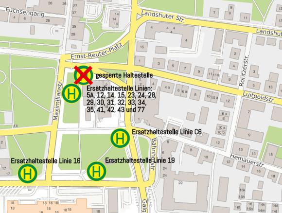Verlegung Haltestelle Ernst-Reuter-Platz ab 15.7.2019 - Ersatzhaltestellen