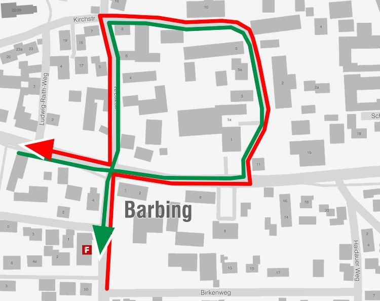 Karte 16.7.2019 Umleitung Barbing 2