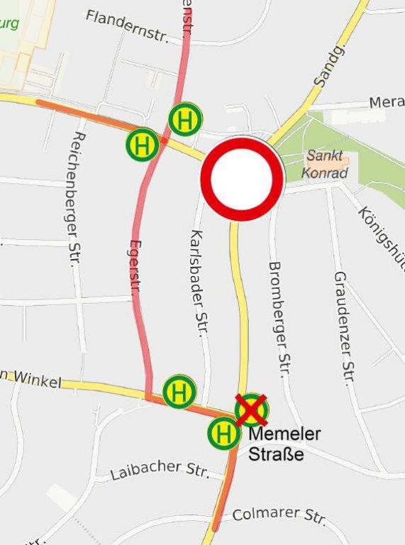Umleitung Aussiger Straße / Sandgasse gesperrt