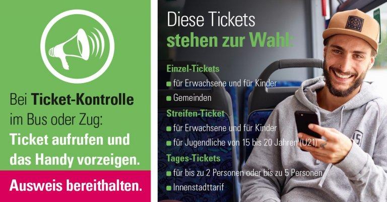 Einzel-, Streifen- und Tages-Tickets sind im Shop erhältlich. Bei der Ticketkontrolle bitte Ihren Ausweis bereithalten.
