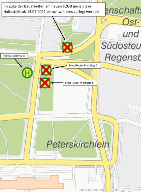 Karte HS Ernst-Reuter-Platz Verlegung Steig 1 ab 14.07.2021