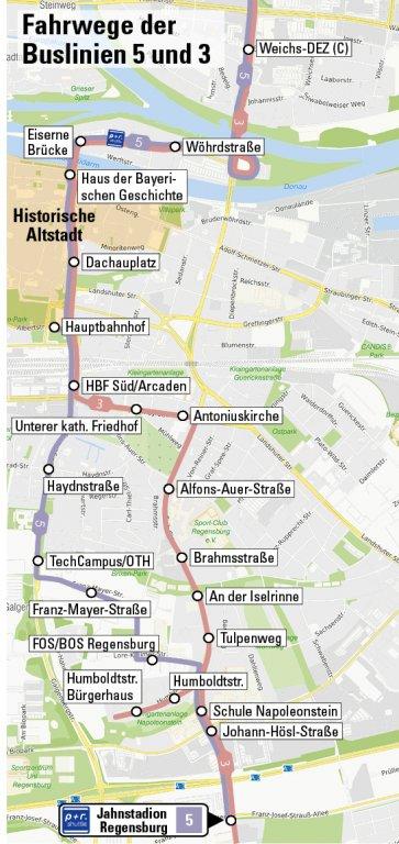 Karte P+R Linienweg 5 und 3