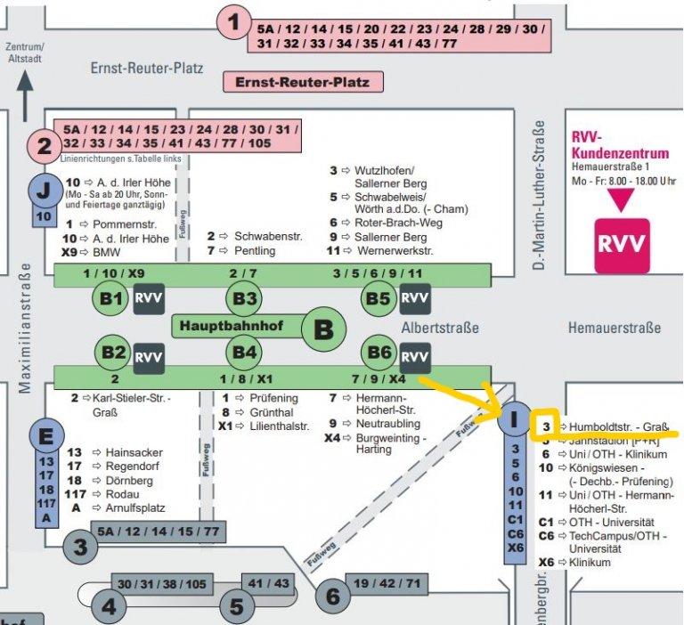 Haltestelle Hbf Steigänderung Linie 3 zum 01.07.2021