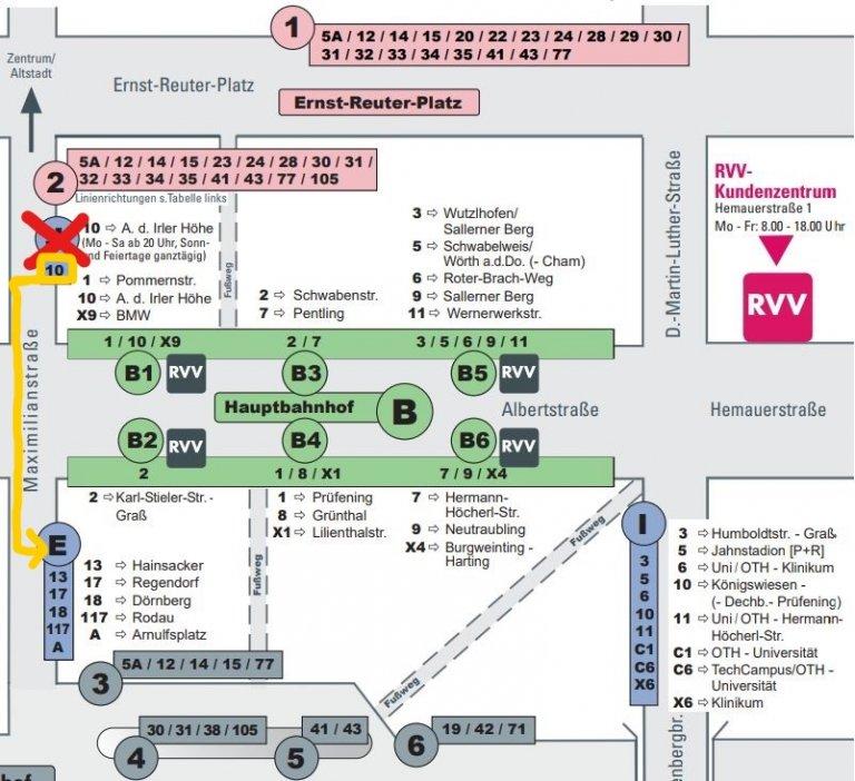 Haltestelle Hbf Steigänderung Linie 10 zum 01.07.2021