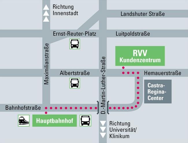 Standortkarte Kundenzentrum des Regensburger Verkehrsverbunds