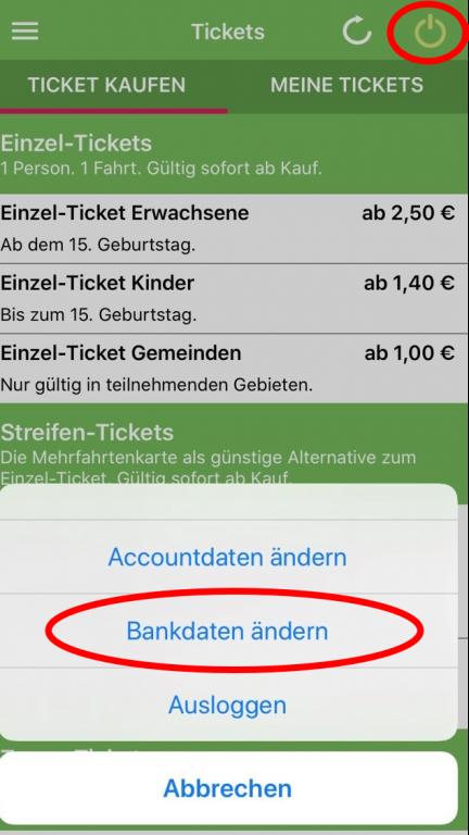 App - Bankdaten ändern