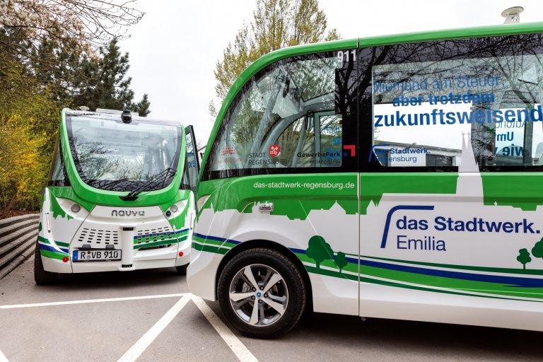 das Stadtwerk.Emilia - autonome Shuttle-Fahrzeuge